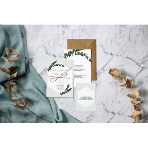 Wzór miętowego eukaliptusa na zaproszeniu