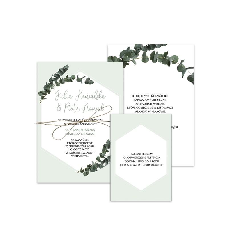 Miętowy eukaliptus na ślubie i weselu i na zaproszeniach