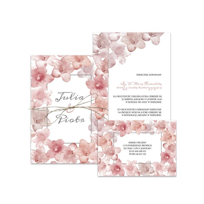 Rózowe zaproszenia ślubne z małymi kwiatkami Kolkwicji