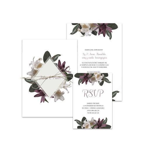 Zestaw trzech kart z motywem tropikalnych kwiatów
