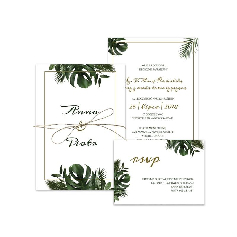 Tropikalne zaproszenia ślubne tropical mood od Bridartis