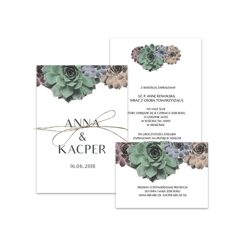 Piękne kolorowe sukulenty na zaproszeniach kartkowych