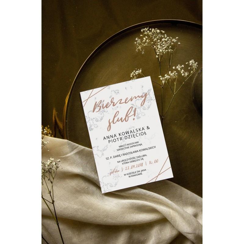 Zaproszenie ślubne Składane Marmur
