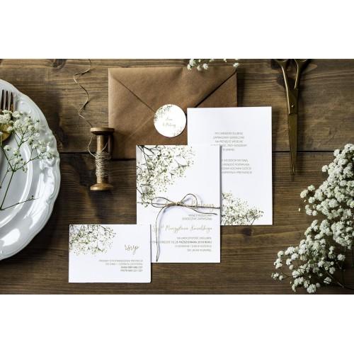 Zaproszenie ślubne Z Rsvp Gipsówka