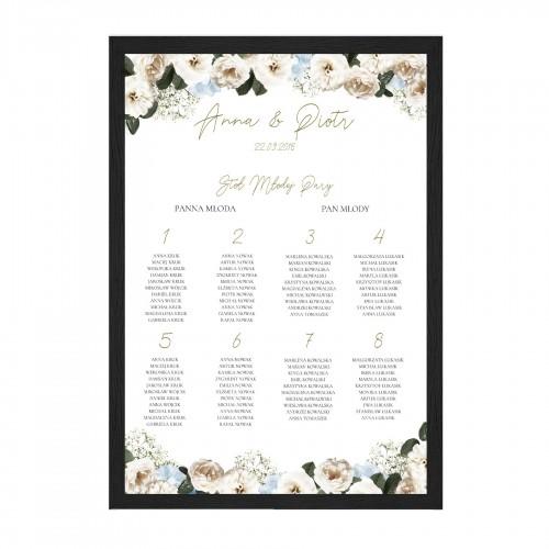 Układ stołów weselnych z motywem Angielskiej róży