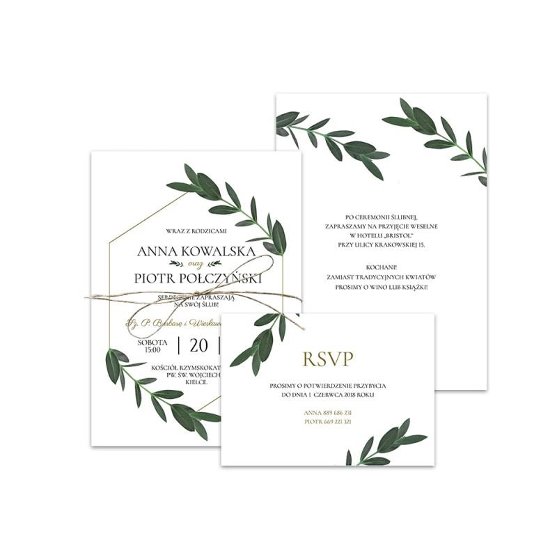 Zaproszenie ślubne Z Rsvp Greenery