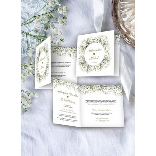 Zaproszenie ślubne Kwadratowe Gipsówka