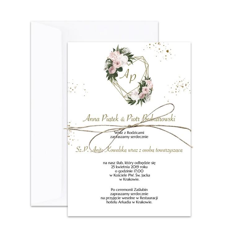 Niesamowite Zaproszenie ślubne jednokartkowe Floral Heart RF99