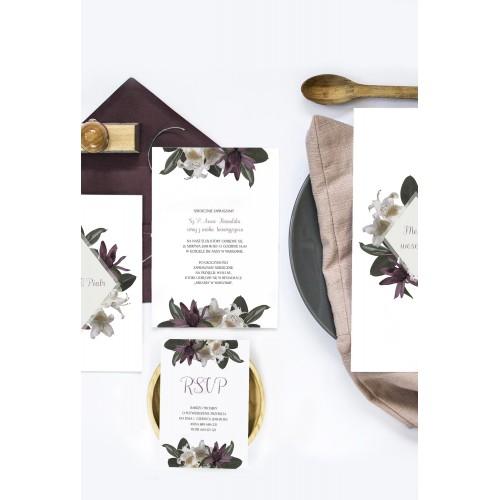 Motyw tropikalne kwiaty, zaproszenia z dwóch kart, rsvp i sznurka